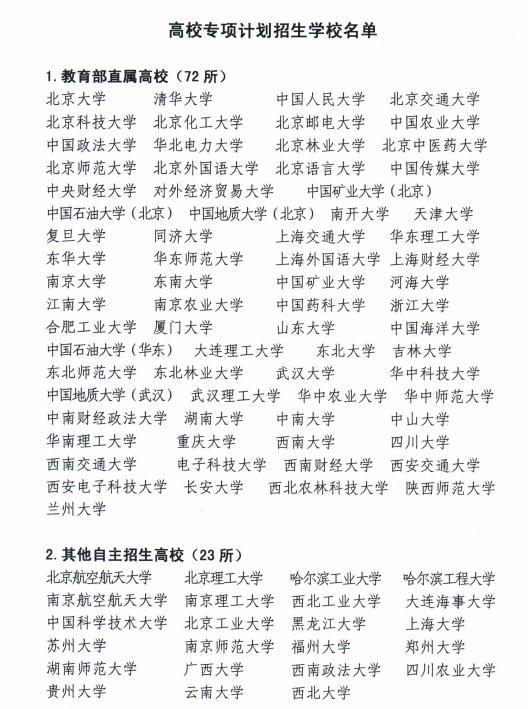 """农村考生上名校""""捷径"""":95所专项计划招生高校名单、报考条件"""